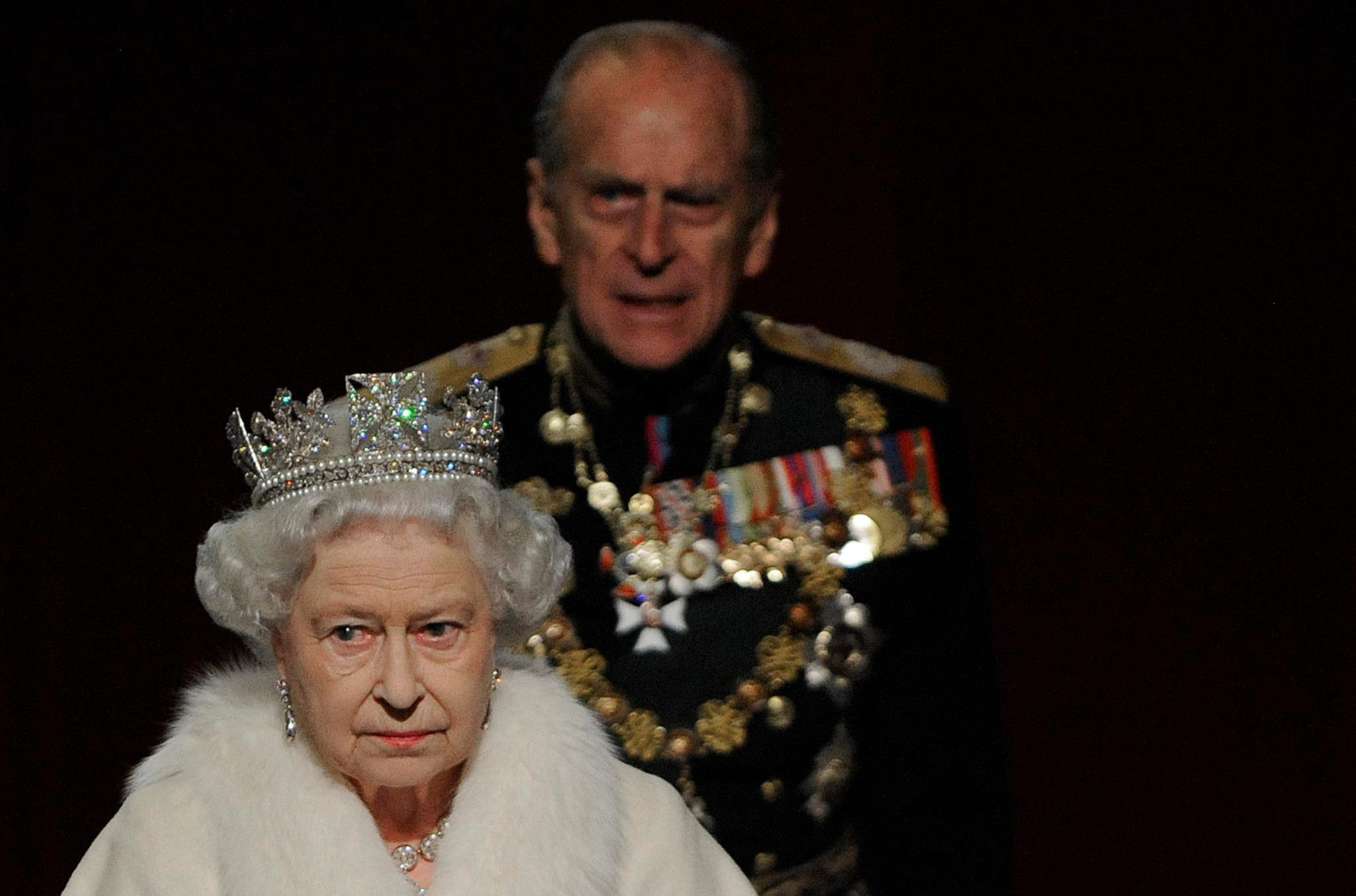 Com a Rainha, após a cerimónia de abertura do Parlamento em Novembro de 2009