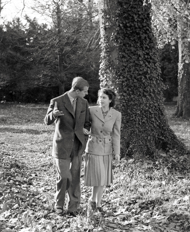 Durante a lua-de-mel no sul de Inglaterra, em Novembro de 1947