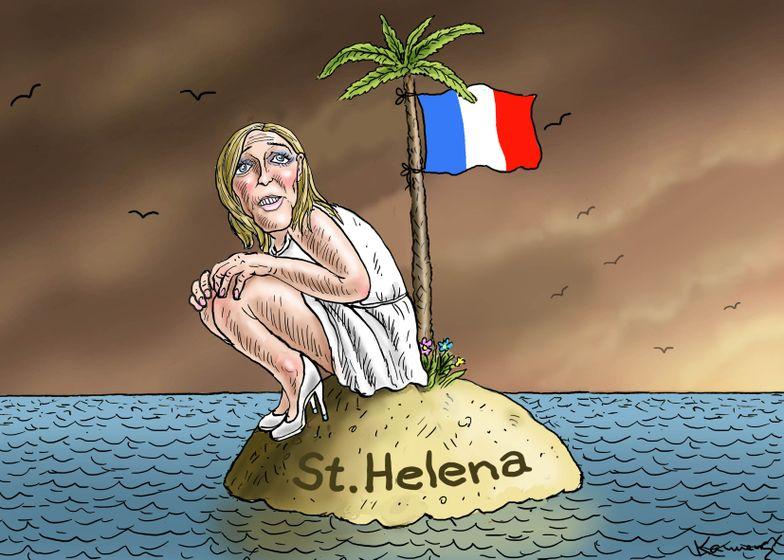"""""""Marine Le Pen on St. Helena"""". Marine Le Pen em Santa Helena, numa alusão ao exílio de Napoleão Bonaparte."""