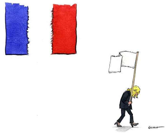 """Le Pen loses with 30% of the vote and leaves Macron to lead a torn country"". Le Pen perde com 30% dos votos e deixa Macron na liderança de um país dividido."