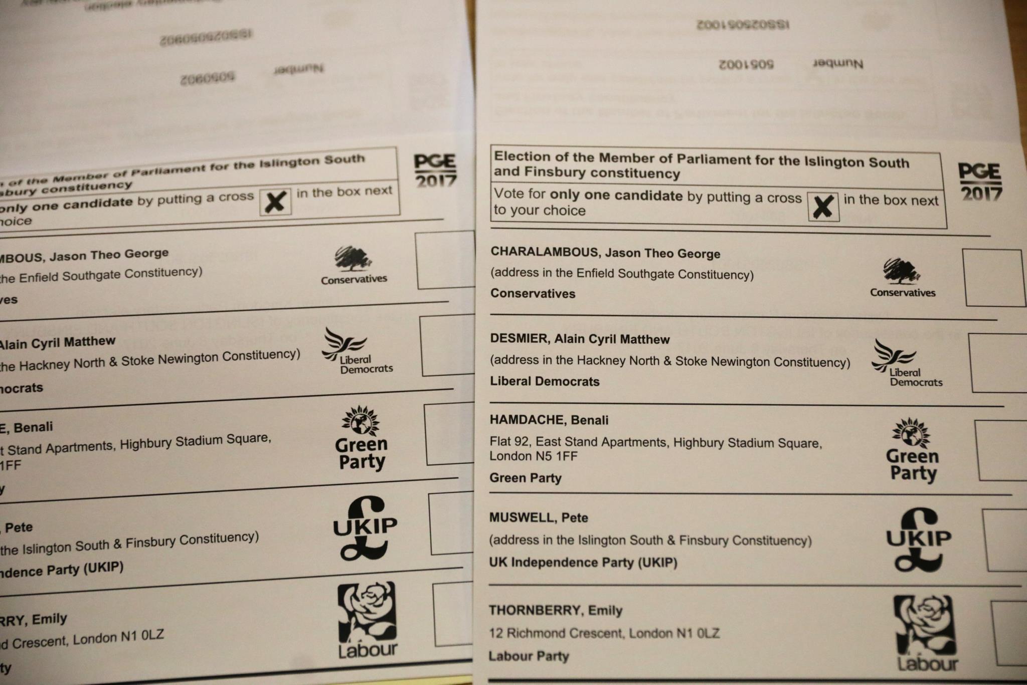Boletins de voto destas eleições antecipadas num círculo em Londres