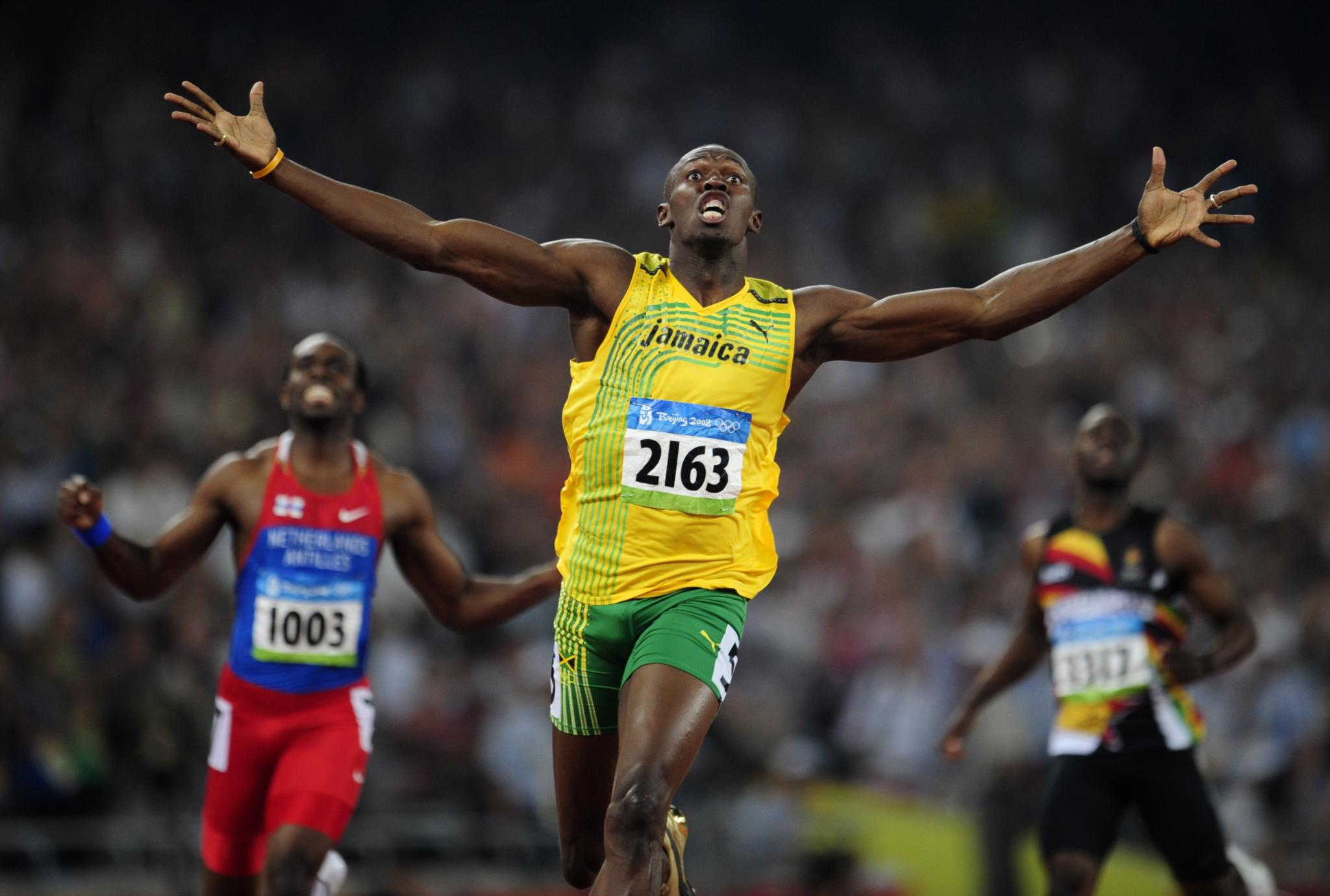 Prova dos 200m, nos Jogos Olímpicos de Pequim, quando Usain Bolt estabeleceu um novo recorde mundial com 19,30s.