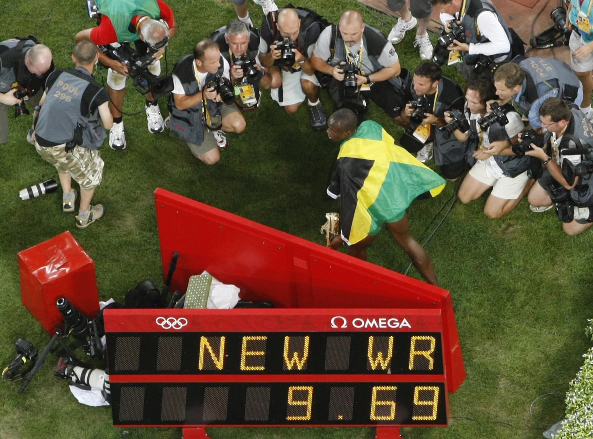 Recorde mundial nos Jogos Olímpicos de Pequim, em 2008. Bolt venceu os 100m com 9,69s