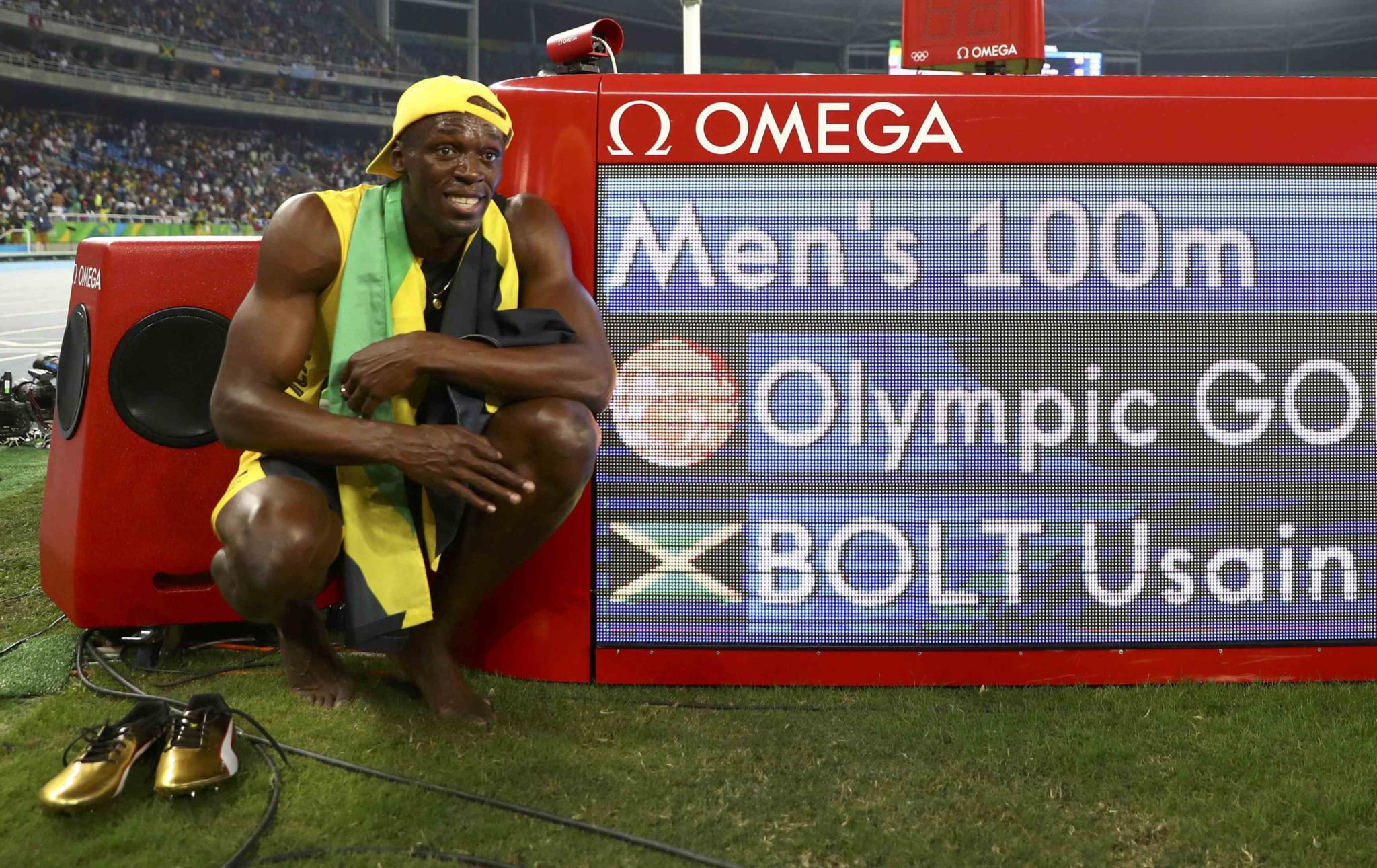 A conquista da medalha de ouro nos 100m no Rio de Janeiro em 2016.