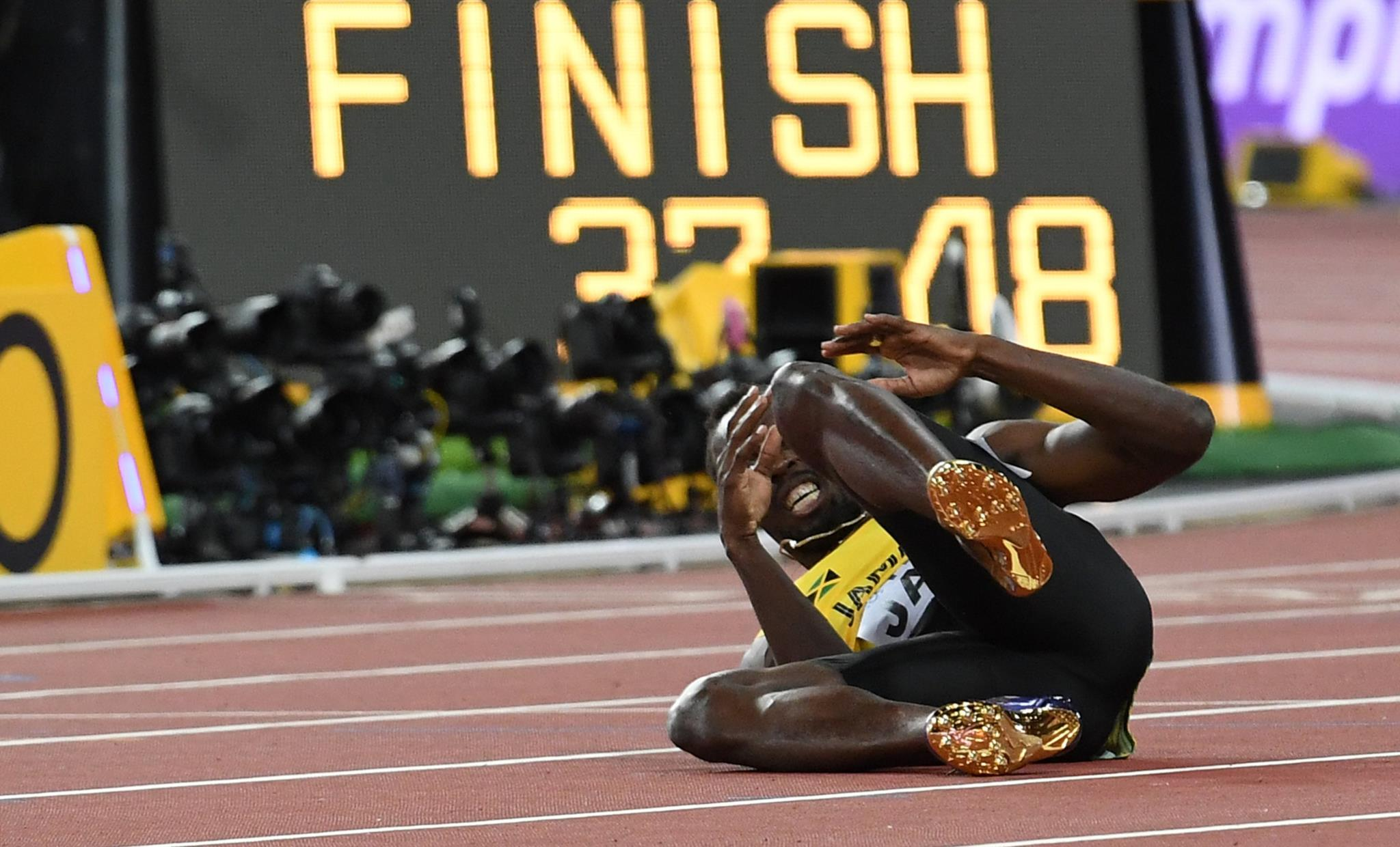 A lesão do jamaicano no último percurso dos 4x100m dos Mundiais de Londres, este ano