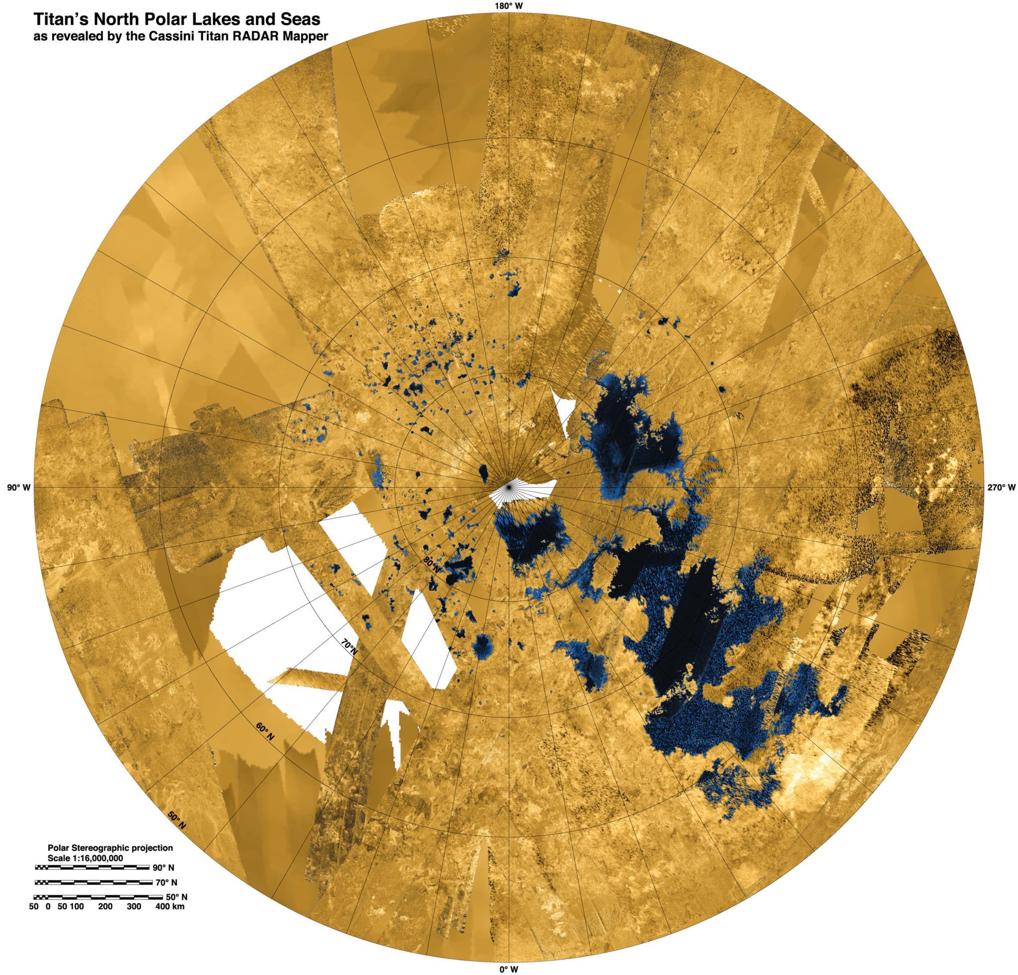 Um mosaico de imagens do Norte de Titã feito a partir de fotografias obtidas entre 2004 e 2013