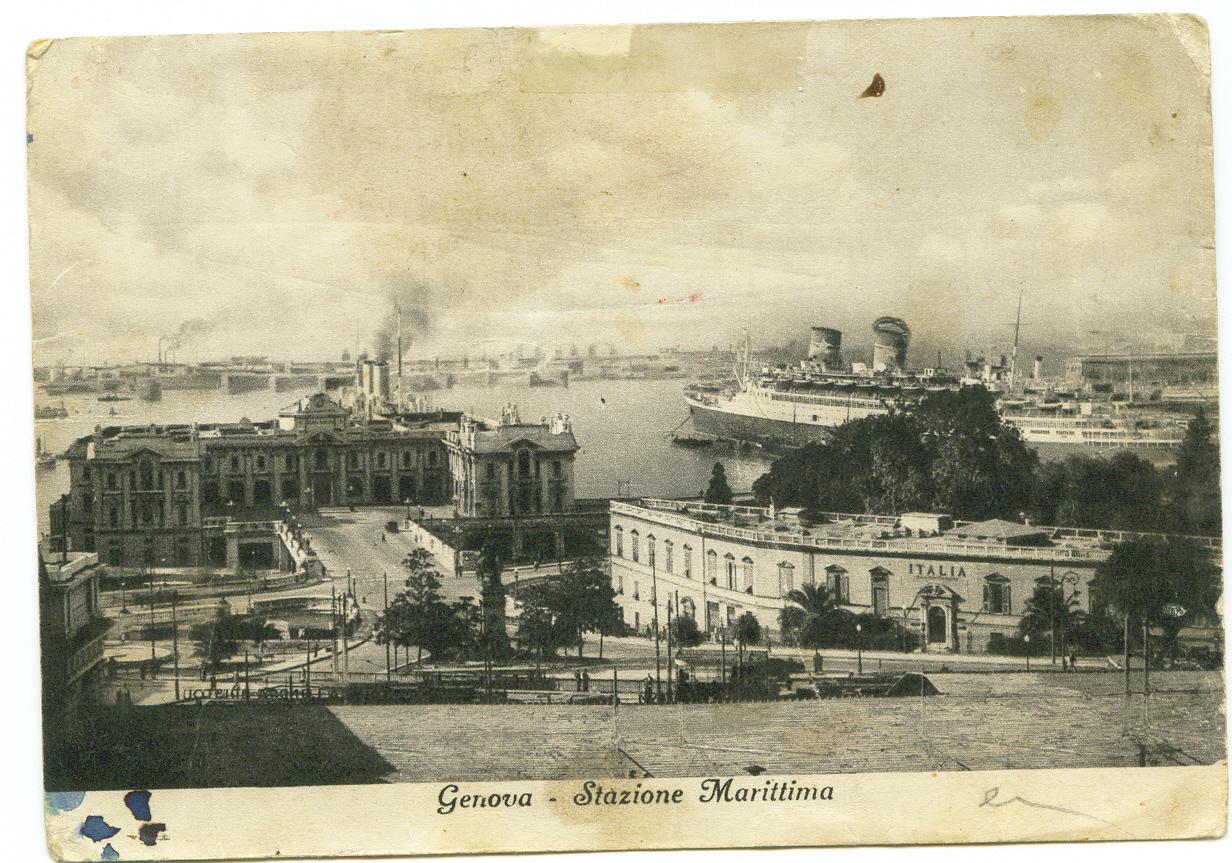 Postal da estação em Génova. Era aí que deixavam o comboio em que tinham entrado em Viena para apanharem um barco em direcção a Lisboa