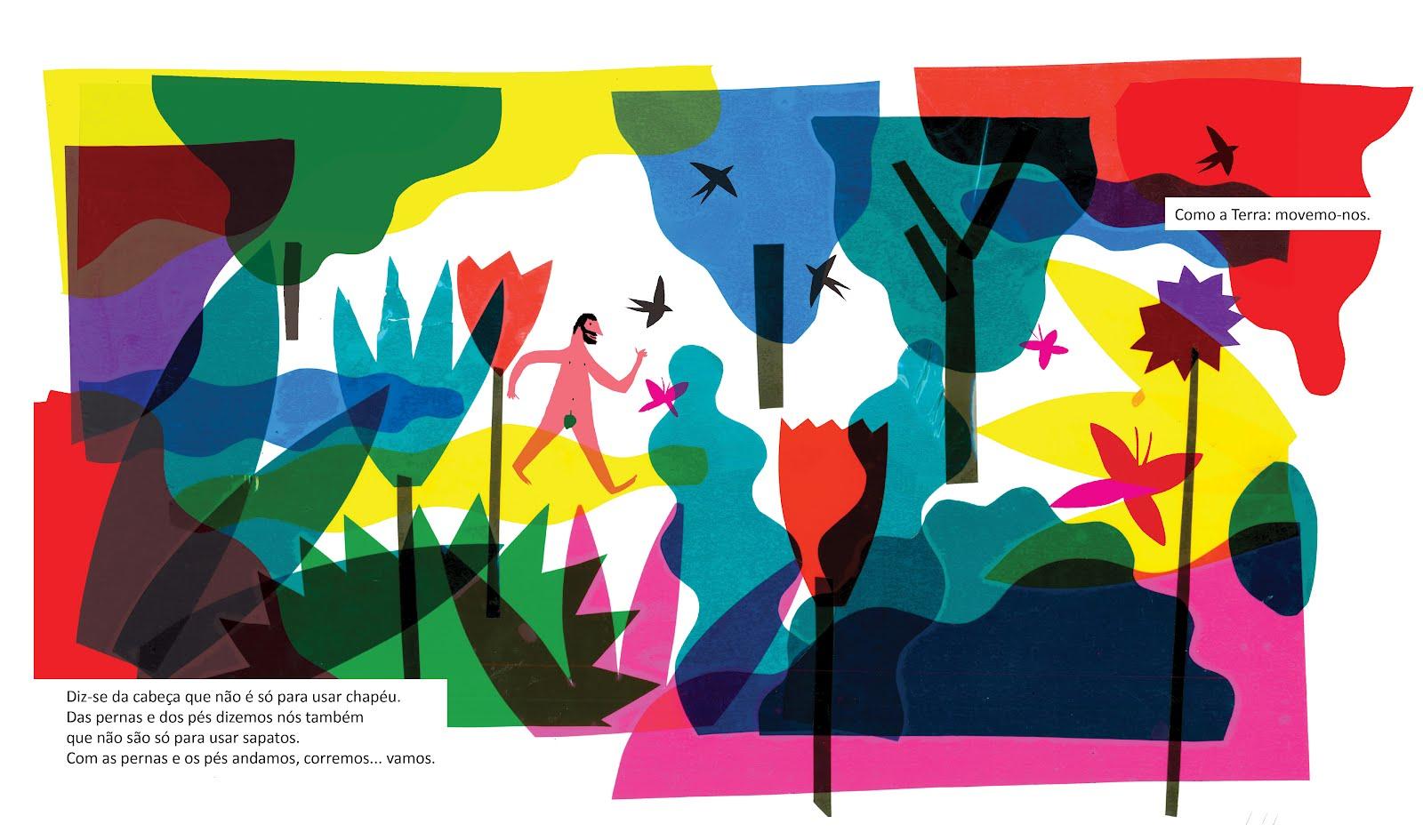 O livro <i>Ir e Vir<7i> com texto de Isabel Minhós Martins e ilustrações Bernardo Carvalho