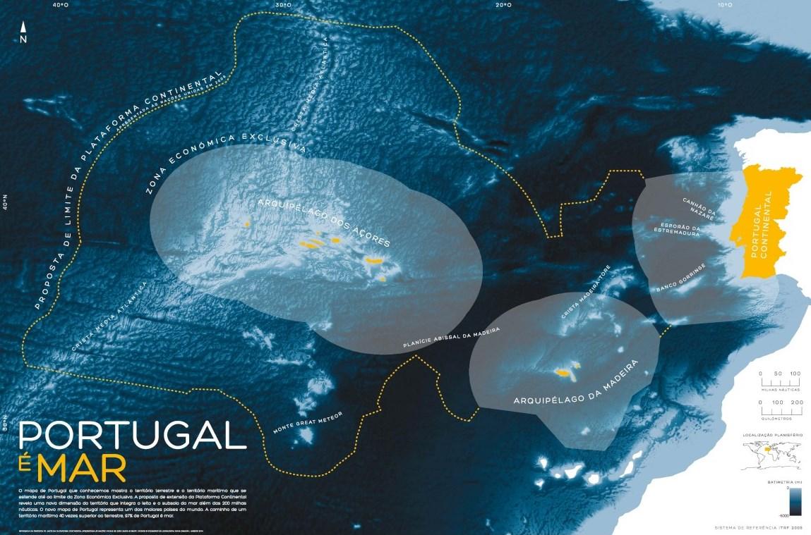 mapa maritimo de portugal Mapa onde se mostra que 97% de Portugal é mar chega hoje às  mapa maritimo de portugal