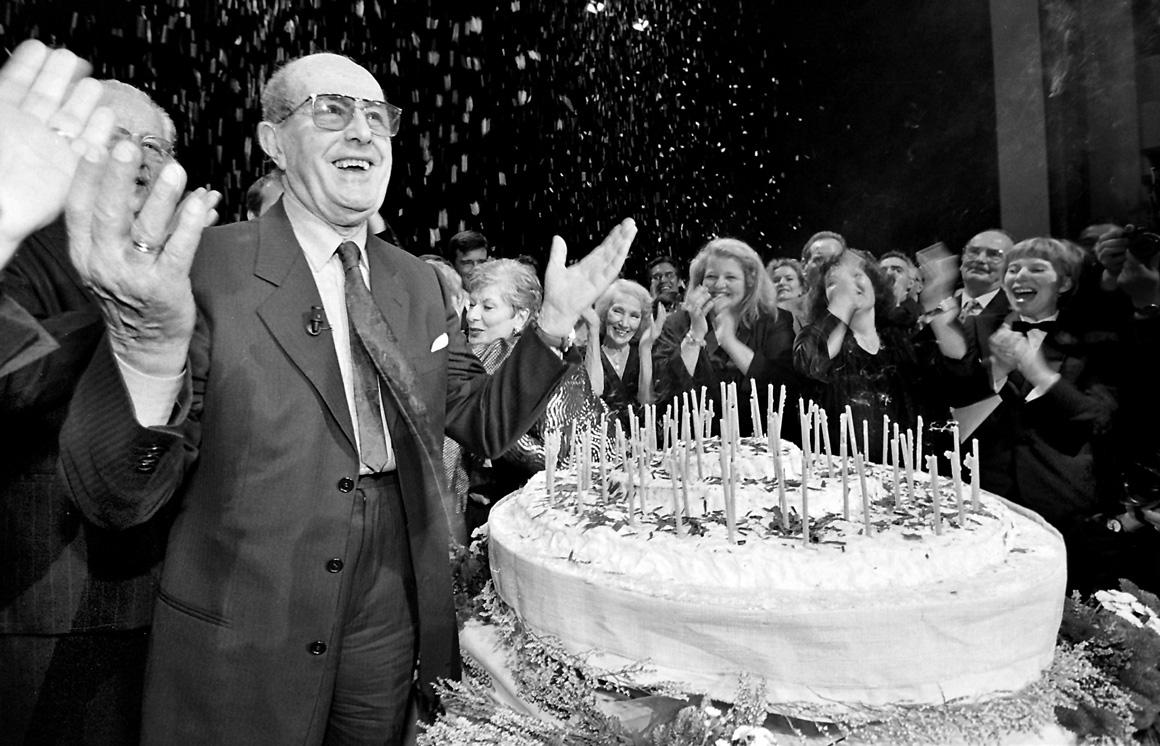 Manoel de Oliveira na festa dos 90 anos, no Teatro Rivoli